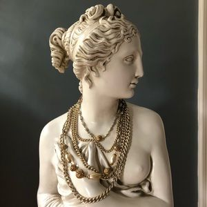 Vintage Multi Strand Gold Tone Pearl Necklace